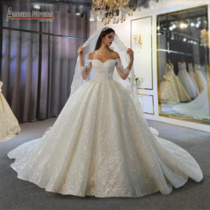 Image 1 - Off the shoulder long sleeves beautiful wedding dress lace bridal dress 2020