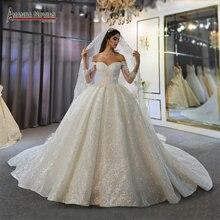 Uit De Schouder Lange Mouwen Mooie Jurk Lace Bridal Dress 2020