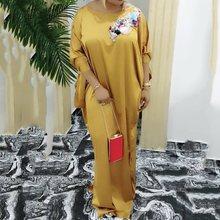 купить Vintage Plus Size African Satin Maxi Dress Bat Sleeve Casual Retro Elegant Women Evening Party Oversized Long Dress Robe Vestido дешево