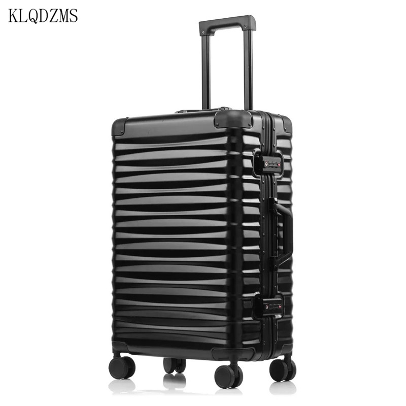 """KLQDZMS 20""""24""""26""""28inch 100% Alumnium Frame Rolling LuggageTravel Trolley Suitcase with Aircraft Spinner Wheels"""