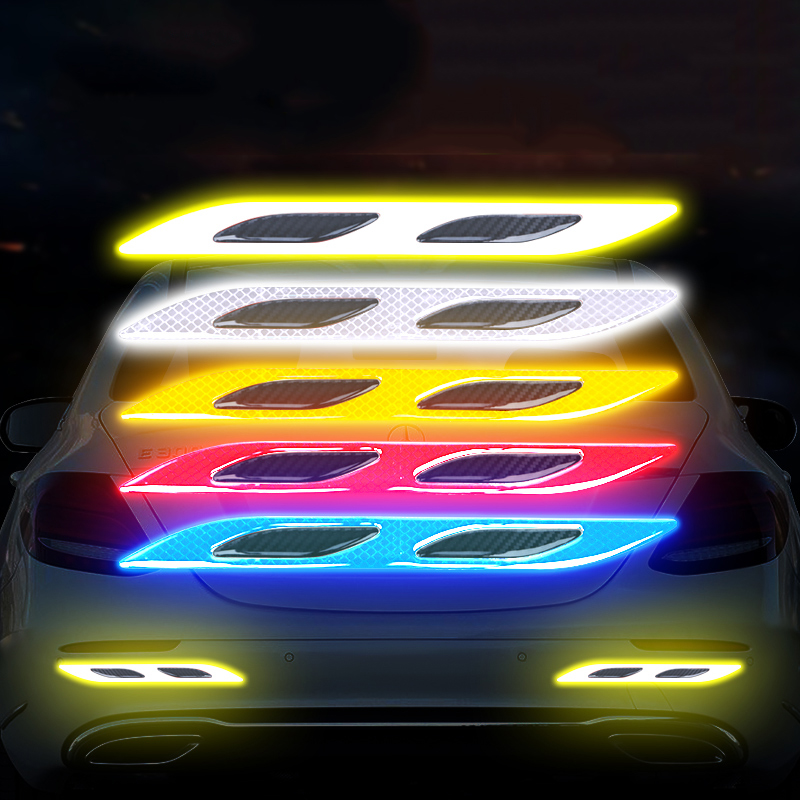 Car Reflective Stickers Auto Safety Warning Strip Tape Car Door Handle Bumper Secure Reflector Strip Decals Exterior Accessories