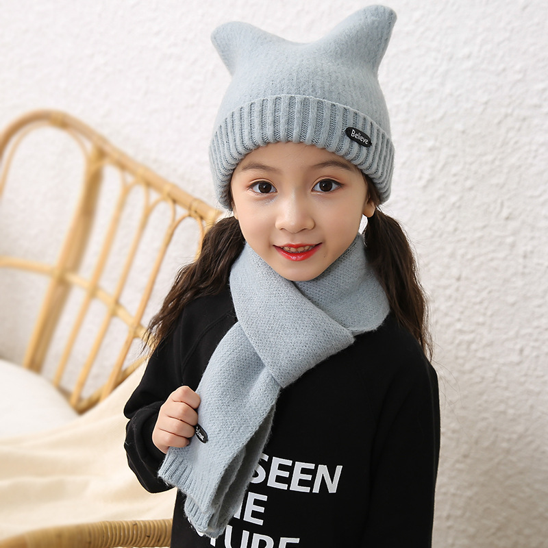 Children Hat Scarf Set Autumn Winter Cashmere Knit Solid  Korean Cute Warm Girls Scarf Cat Ears Cap