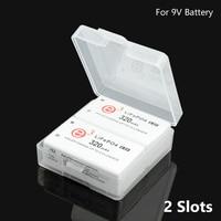Cajas de plástico para batería de 9V 6F22, organizador de batería, soporte de protección, 1/2 unidades