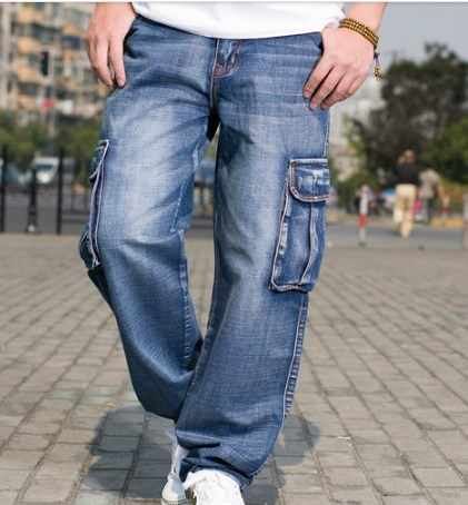 Pantalones vaqueros holgados de pierna ancha de invierno para hombre, pantalones vaqueros holgados de Hip Hop para hombre, pantalones vaqueros multibolsillos de Denim para motorista de talla grande 42 44 46