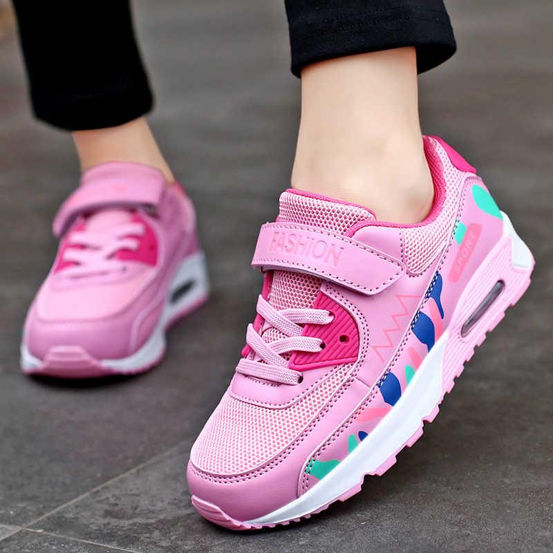 Sport Loopschoenen Kinderen Meisjes Sneakers Tiener Trainers Ademende Casual Outdoor Tennis Schoenen Meisje Zwart Roze Big Size 37- 38