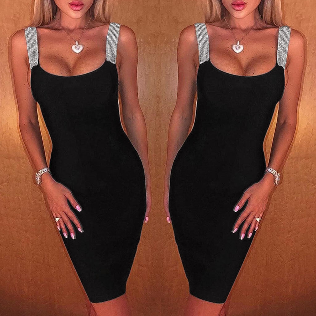 BacklakeGirls 2020 Sexy Spaghetti Strap Sleeveless Cocktail Dresses Party Black Bodycon Dress Robe De Soiree
