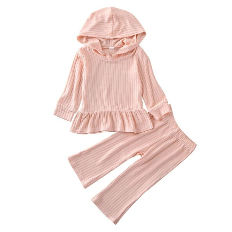 >2020 New Toddler <font><b>Girl</b></font> Clothes Pink Ruffle Kintted Hooded T-shirt Tops + Pants Trousers <font><b>Soft</b></font> 2PCS <font><b>Outfit</b></font> Kids Baby Clothes 1-6Y