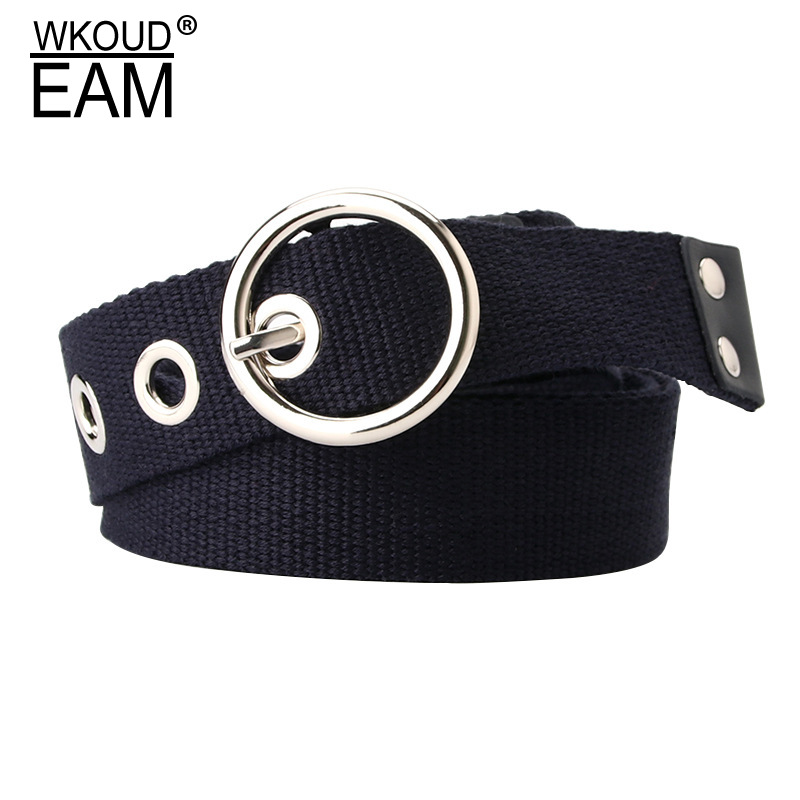 WKOUD EAM 2020 New Round Pin Buckle Canvas Belt For Women Fashion Personality Hollow Out Dress Corset Belt Lady Waistband PF190