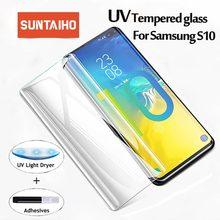 Suntaiho Protector de pantalla de cristal templado para Samsung Galaxy S10 S10plus S10E, líquido UV, pegamento total para Samsung S8 9 plus Note 8 9