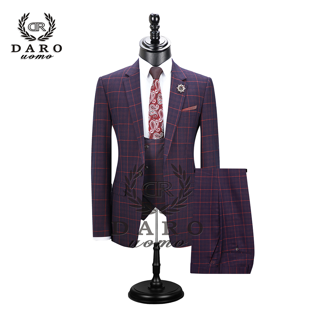 2020 DARO Mens Suit Terno Slim Fit Casual One Button Fashion Grid Blazer Side Vent Jacket And Pant For Wedding Party DR8038