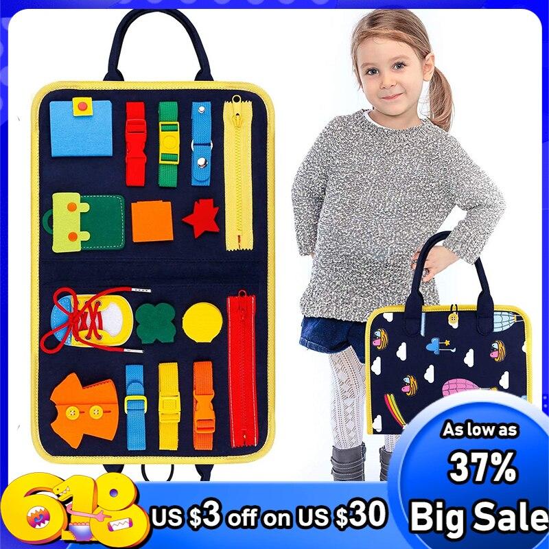 Детские занят доска Пряжка От 1 до 5 лет, на молнии и пуговицей, на шнуровке развивающие игрушки ребенок интеллектуальные Обучающие игрушки М...