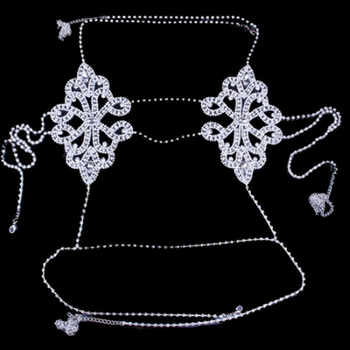 Fashion Luxury Flower Crystal Body Chain Bra Harness Body Jewelry for Women Sexy Bling Rhinestone Bra Necklace Bralette Top Gift