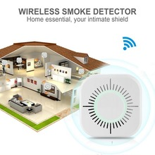 лучшая цена 433MHz Wireless Smoke Detector Fire Protection Portable smoke detector wifi Home Safe Security smoke alarm Sensor White