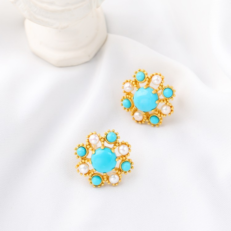 CMajor S925 Sterling Silver Elegant Temperament Delicate Sweet and Romantic Mosaic Pearl Turquoise Stud Earrings for Women