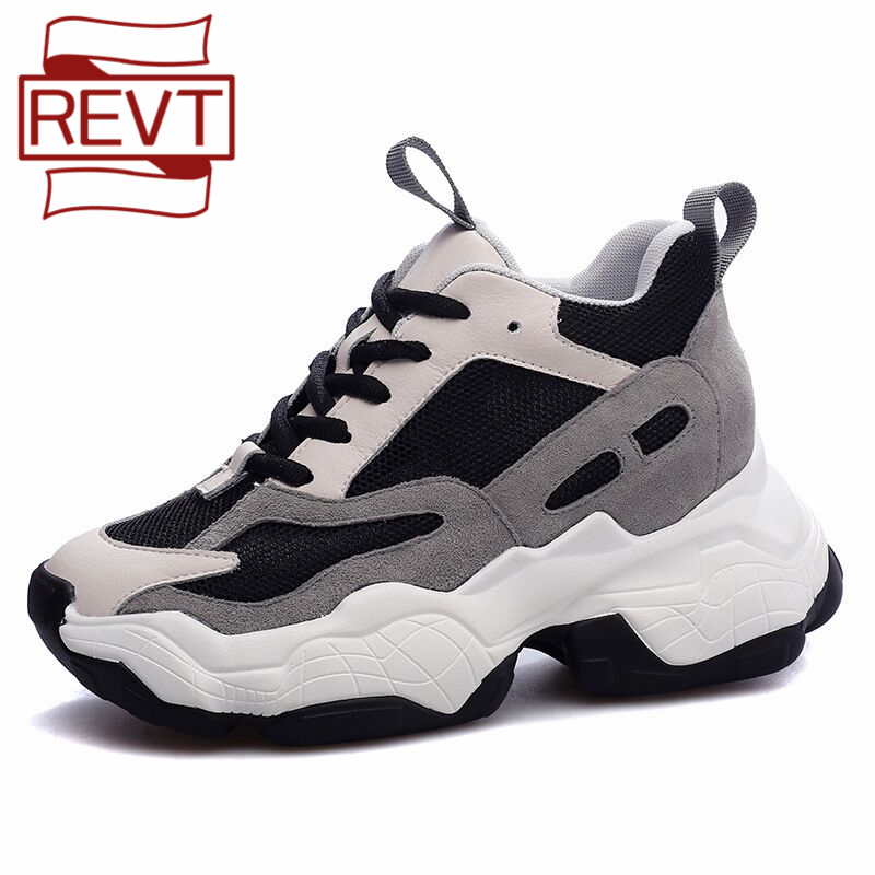 REVT 2020 new style womens Height Increasing Genuine Leather fashion Wild round toe daddy shoes boots girls splice shoes