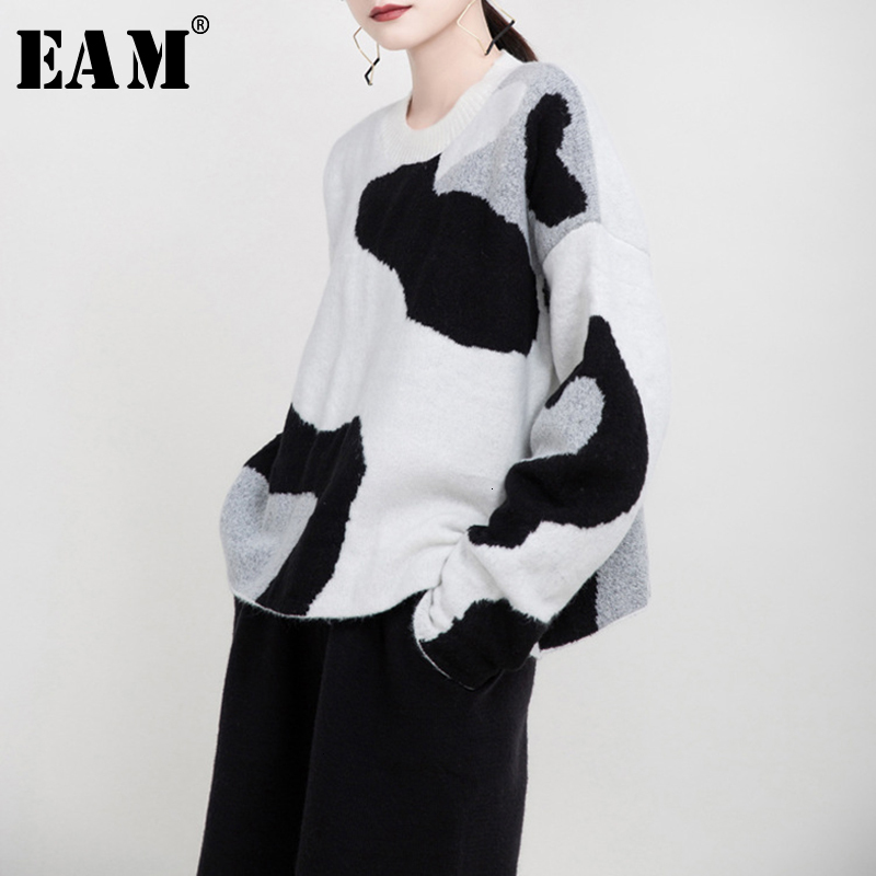 [EAM] Pattern Split Big Size Knitting Sweater Loose Fit Round Neck Long Sleeve Women Pullovers New Fashion Spring 2020 1M944