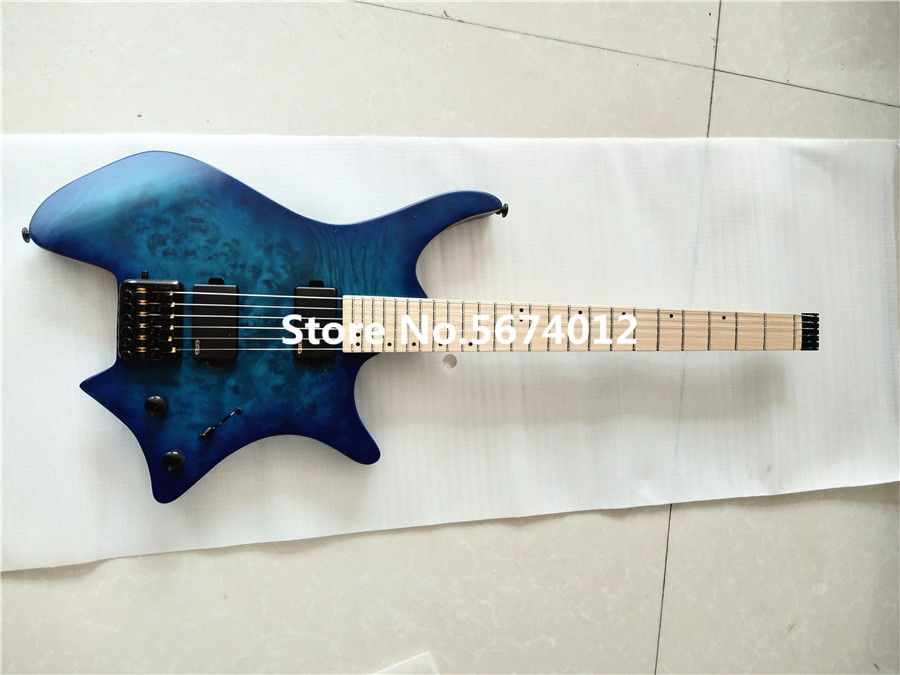 High quality blue matte headless electric guitar maple xylophone neck black accessories free shipping