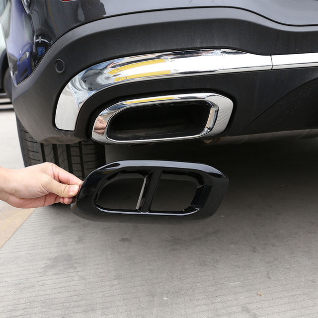 2pcs Car Muffler Exhaust Pipe Tail Cover Trim Exterior Accessories For Mercedes Benz GLE 350 GLE 450 GLC GLS W167 X253 X167 2020 2