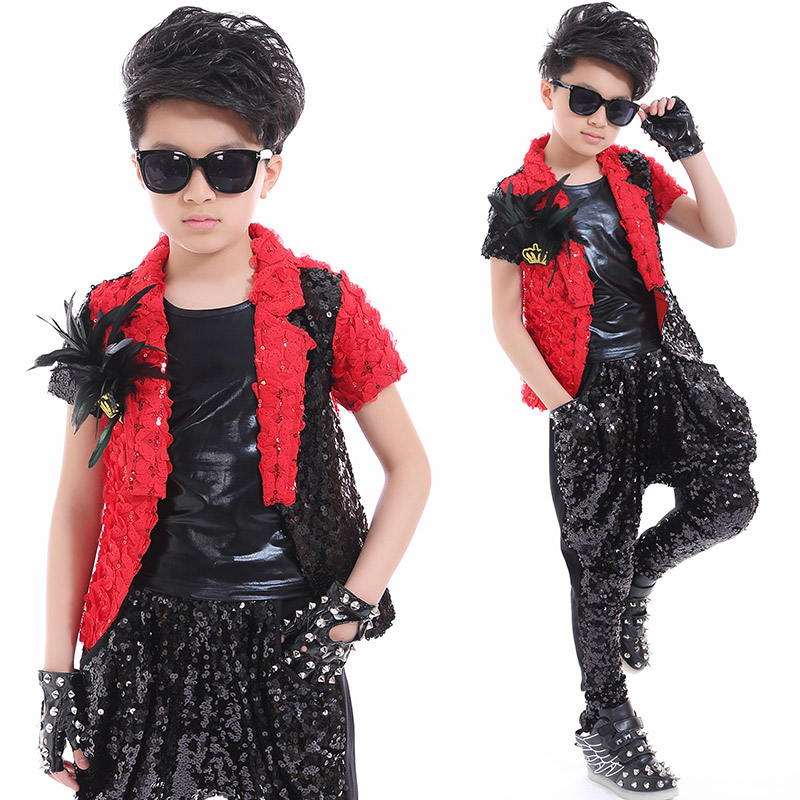 2020 Hip Hop Dance Costumes Boys Sequin  Jacket Children Street Dancing Clothing Jazz Stage Dance Show Outfits For Kids DQS2792