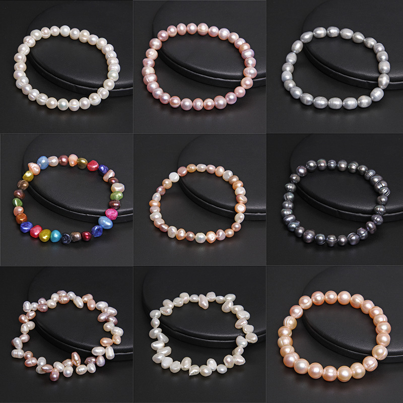Real Natural Pearl Bangles Baroque Freshwater Pearls Bracelet Elastic Beaded Chain for Women Men Fine Jewelry Wedding Gifts