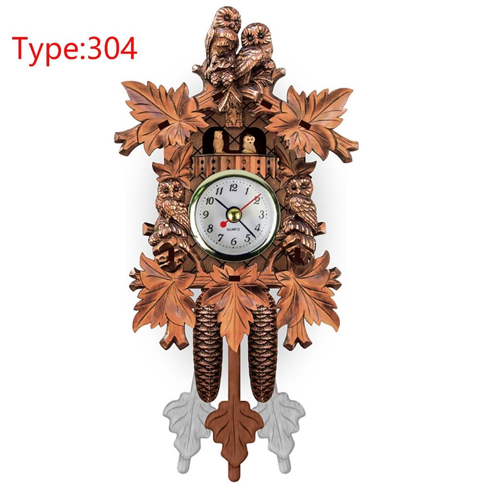 Decorative Wood Pendulum Hanging Wall Clock Home Vintage Bird Cuckoo Living Room