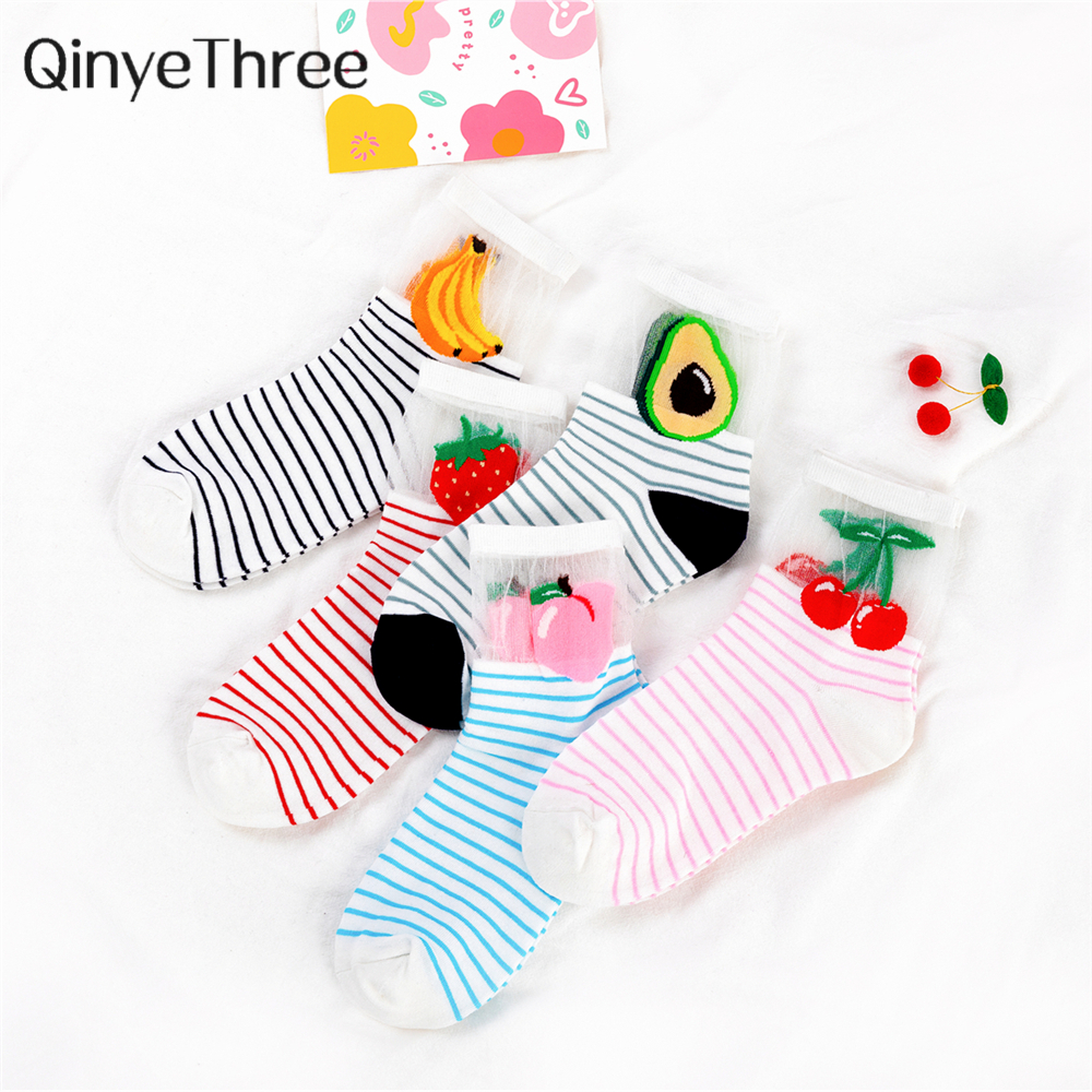 Women's Happy Funny Cartoon Fruit Ice Silk Splicing Cotton Socks Japanese Korean Avocado Cherry Strawberry Peach Striped Sokken