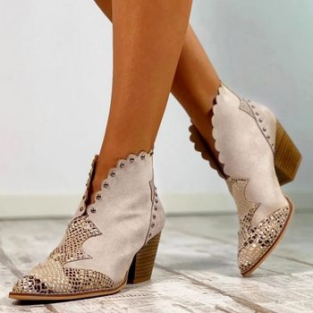Women  Boots Female Autumn Winter Shoes  Print Leather Ankle Boots Pointed Toe Boots  Heels Shoes  Boots2020 ankle boots for women high heels winter shoes woman fashion autumn pointed toe square heel boots zipper female ladies shoes 2020