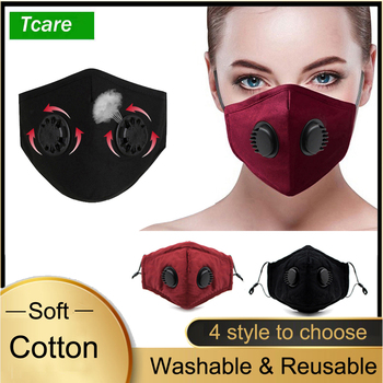 Double Breathing Valve Anti Dust Face Mouth Mask wirh PM 2.5 Activated Carbon Filter Washable Reusable Cotton Mask