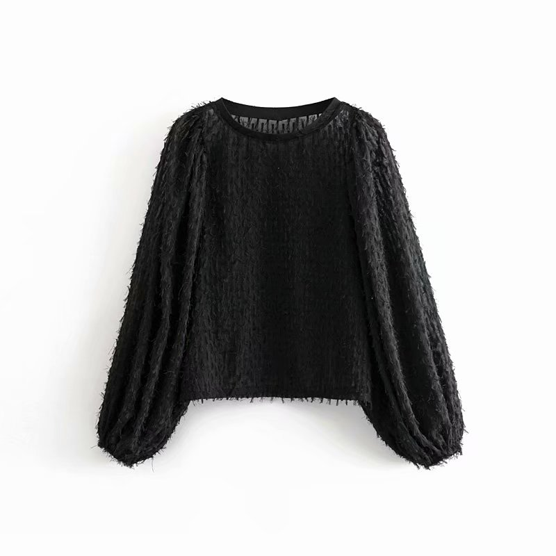 Women Elegant Tassel Stitching Decoration Casual Loose Sweatershirts Female Basic O Neck Lantern Sleeve Hoodies Chic Tops H103