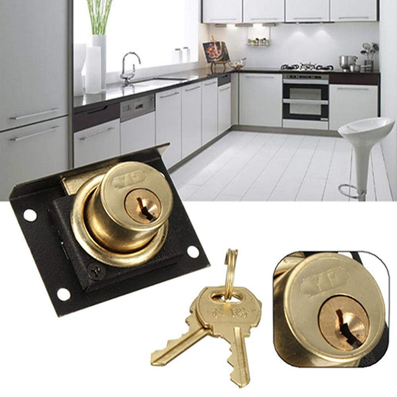 High Grade Home Safely Security Copper Cabinet Door Drawer For Drawers Box Cabinet Cupboards Panel Hardware Furniture Lock