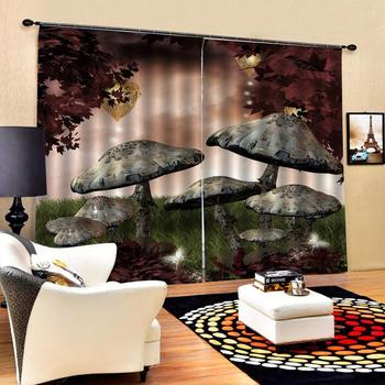 cartoon mushroom curtains 3d Curtains Blackout for Living Room Kids Bedroom Fabric Blackout curtain