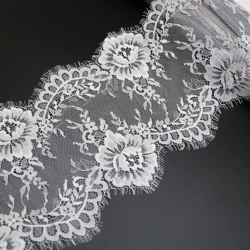 (3 metre/grup) 20cm beyaz siyah dantel kumaş vual dantel Trim işlemeli düğün elbisesi kumaş