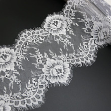 (3 meters/lot) 20cm White Black lace fabric Voile Lace Trim Embroidered Wedding Dress Fabric