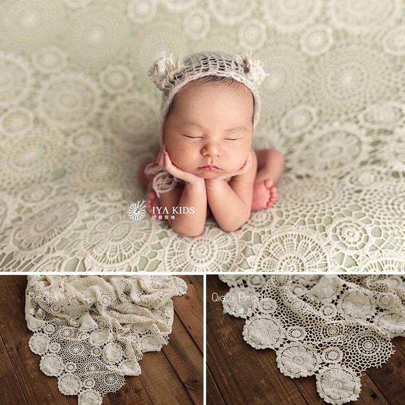 Newborn Props For Photograph Vintag Lace Cotton Background Blanket Studio Baby Shooting Mats Baby Photo Accessories Tablecloth