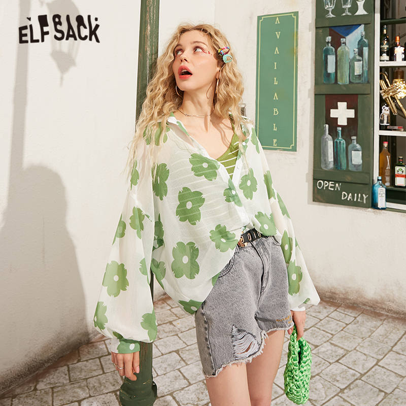 ELFSACK Green Floral Print Single Breasted Thin Women Casual Shirts 2020 Spring New Yellow Lantern Sleeve Girly Korean Daily Top