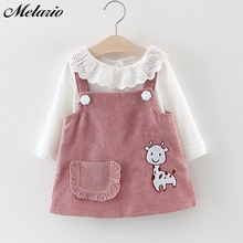 Melario Baby Girl Dress Autumn Princess Clothes Cute Girls Long Sleeve T-shirt Tops Cartoon Giraffe 2pcs Suit