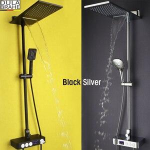 Набор смесителей для ванной комнаты, смеситель для душа с водопадом, насадка для душа, термостатический смеситель, цифровая душевая панель, ...