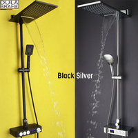 Bathroom Shower Faucet Set Bath Mixer Waterfall Rain Shower Head Thermostatic Mixer Tap Digital Shower Panel Shower System