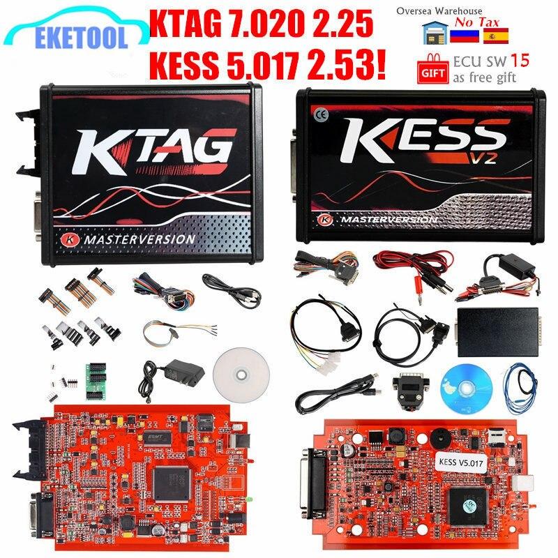 2020 Newest KESS V2.53 V5.017 V2 Online 4LED Red PCB KTAG 7.020 SW2.25 OBD2 ECU Programming Tool KESS 5.017 K-TAG 7.020