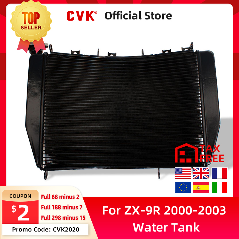CVK Motorcycle Radiator Cooler Cooling Water Tank for Kawasaki ZX-9R <font><b>2000</b></font> 2001 2002 2003 ZX9R 00 01 02 03 Aluminium ZX900 ZX900F image
