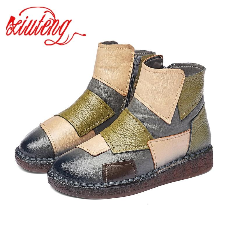 Женские ботинки из натуральной кожи Xiuteng, зимние ботинки на плоской подошве, 2020|Полусапожки|   | АлиЭкспресс