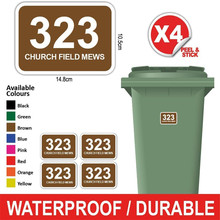 Wheelie Bin House-Number Street-Name Number-Stickers Personalised And FF Curved Rectangle-Style