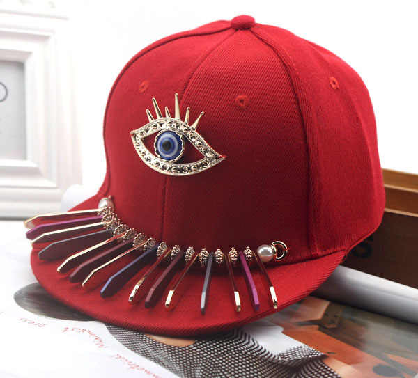 2019 Punk Big Eye Snapback hip hop Della Protezione Dei Bambini I Bambini di Diamante Del Berretto Da Baseball Delle Ragazze Dei Ragazzi Nero Chapeau Cappelli 50 a 54 centimetri E972