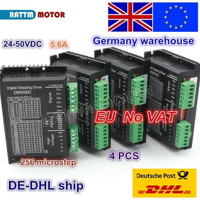 ЕС Бесплатный НДС 4 шт. DM556D 50VDC 5.6A 256 microстеп высокая производительность цифровой для ЧПУ маршрутизатор машина NEMA17/23 шаговый двигатель драйвер