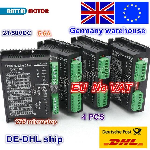 EU Gratis BTW 4pcs DM556D 50VDC 5.6A 256 microstep High performance digitale voor CNC Router MACHINE NEMA17/23 stappenmotor driver