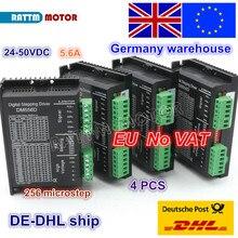 Eu 무료 vat 4pcs dm556d 50vdc 5.6a 256 microstep 고성능 디지털 cnc 라우터 기계 nema17/23 스테핑 모터 드라이버