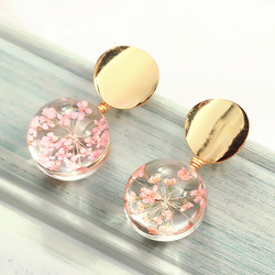 New Metal Sequins Round Earrings Transparent Glass Ball Flowers Dangle Drop Earrings For Women Fashion Jewelry Oorbellen Brincos