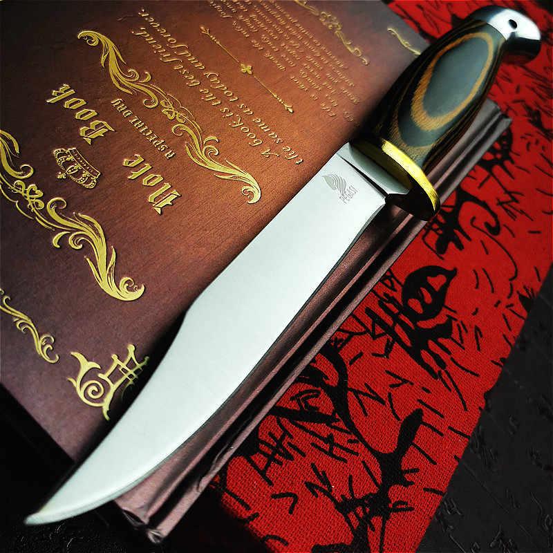 PEGASI Huanghua armut ahşap saplı taktik düz bıçak kesim kemiksi saplı bıçak D2 çelik entegre dilimleme şef bıçağı