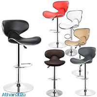 2pcs/set Fashion PU Leather Backrest Bar Stools Butterfly Style Adjusted Rotatable Bar Chairs Gas Lift Kitchen Accessories HWC