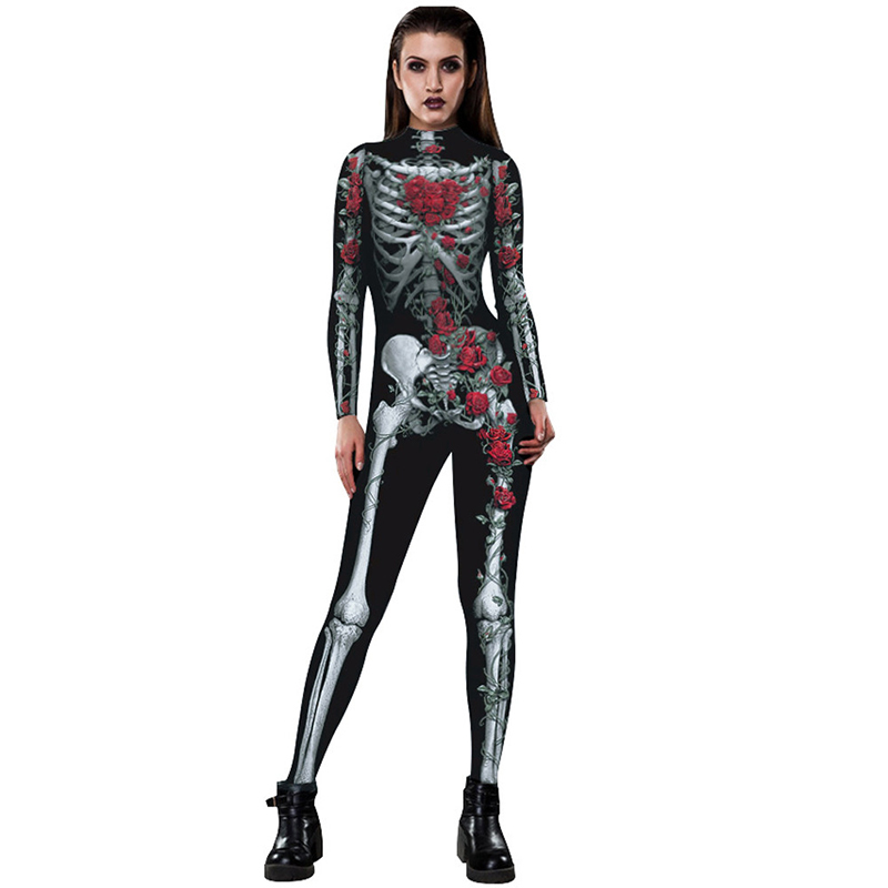 Image 2 - New Women Sexy Bodysuits Halloween Costumes For Women 3D Skull Rose Printing Jumpsuits Punky Back Yoga Day of the Dead    -